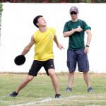 Discus hurling for Track and Field competition