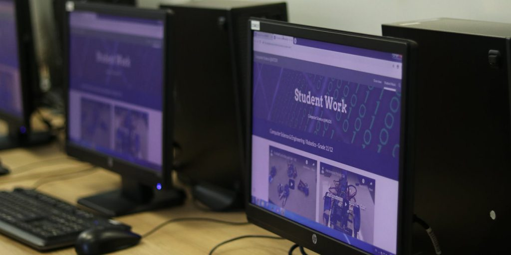 Computer screens of student work